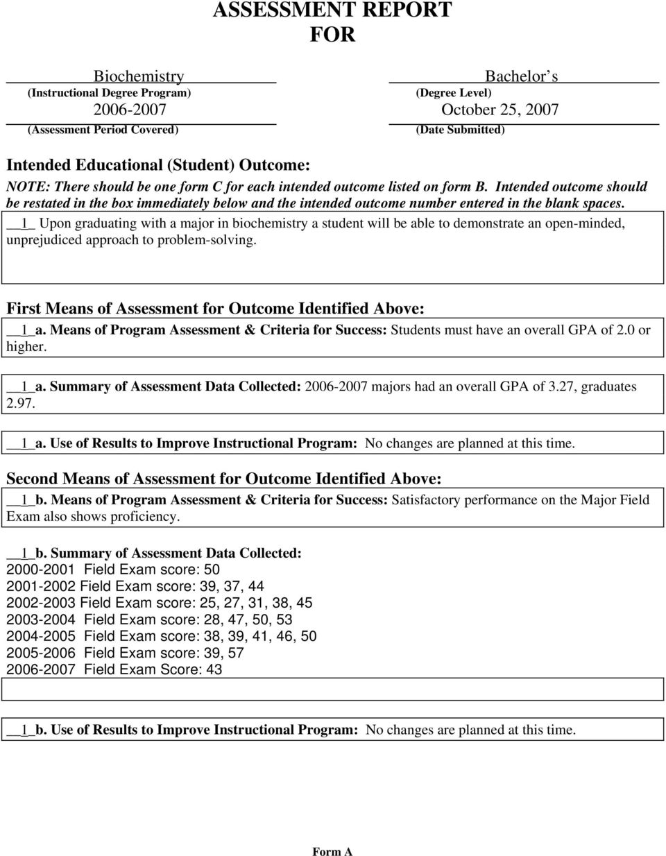 ASSESSMENT RECORD FOR DEPARTMENT OF - PDF