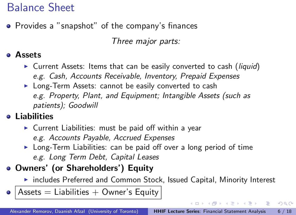 Term Assets: cannot be easily converted to cash e.g. Property, Plant, and Equipment; Intangible Assets (such as patients); Goodwill Liabilities Current Liabilities: must be paid off within a year e.g. Accounts Payable, Accrued Expenses Long-Term Liabilities: can be paid off over a long period of time e.