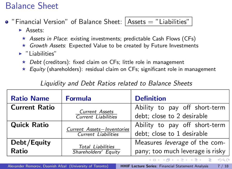 related to Balance Sheets Ratio Name Formula Definition Current Ratio Ability to pay off short-term Current Assets Current Liabilities debt; close to 2 desirable Quick Ratio Ability to pay off
