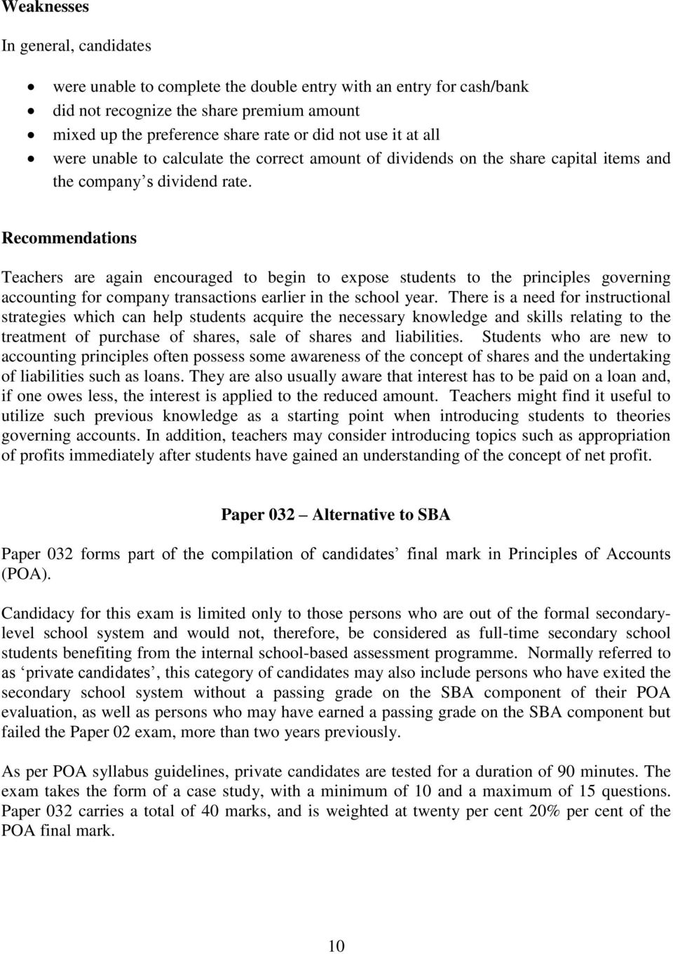 REPORT ON CANDIDATES WORK IN THE CARIBBEAN SECONDARY