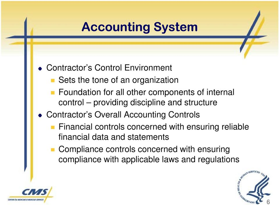 Overall Accounting Controls Financial controls concerned with ensuring reliable financial data