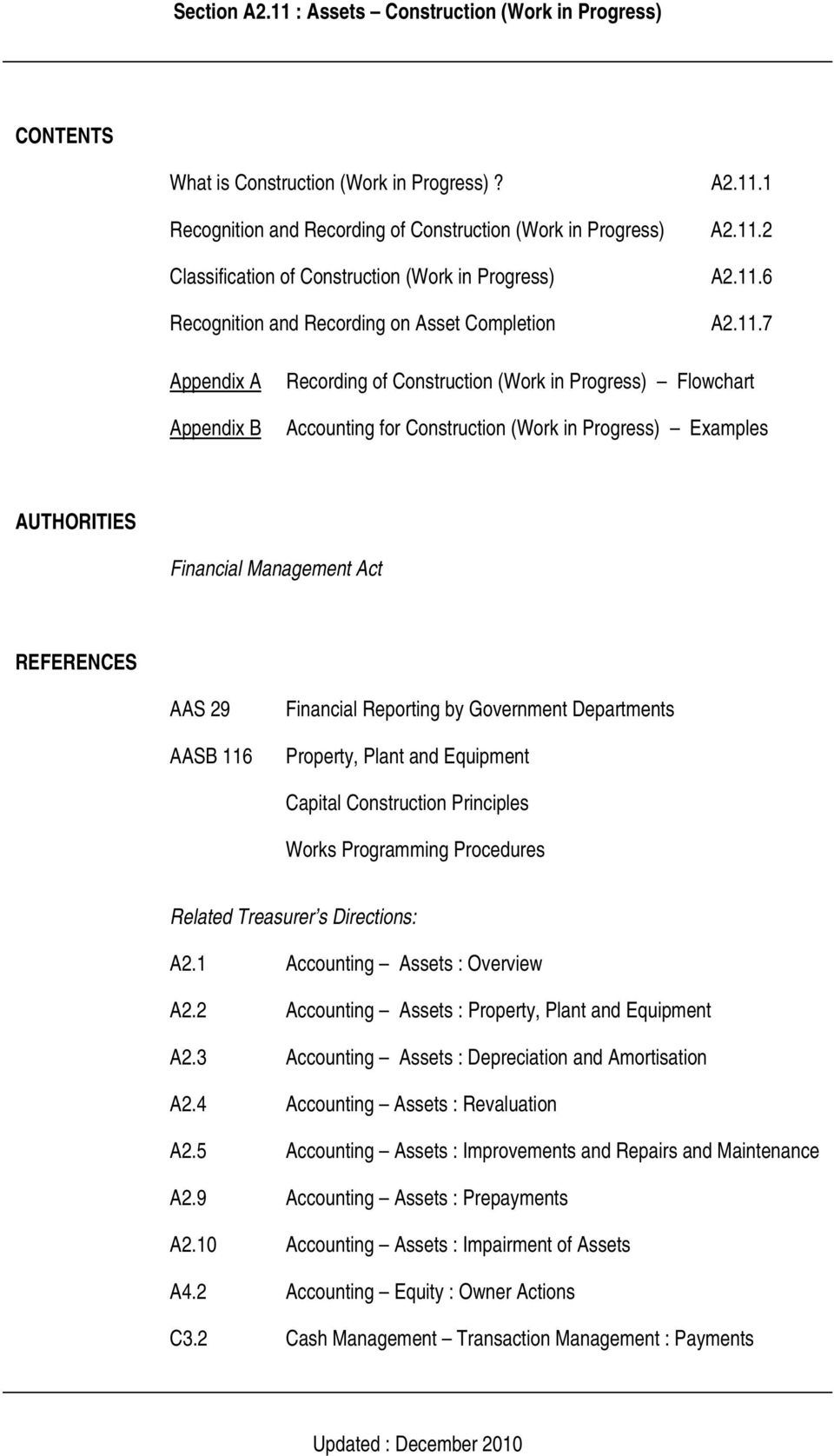 TREASURER S DIRECTIONS ACCOUNTING ASSETS Section A2 11