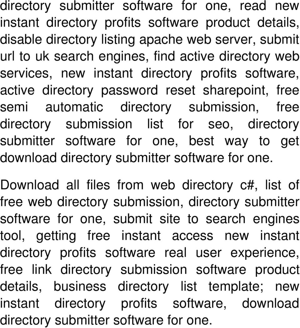 software for one, best way to get download directory submitter software for one.