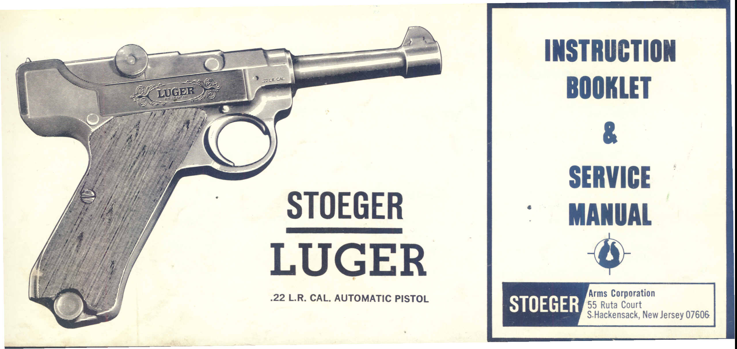 Stoeger Luger Service Instruction Booklet Manual Arms Ruger Lcp Extractor Exploded View Diagram Transcription