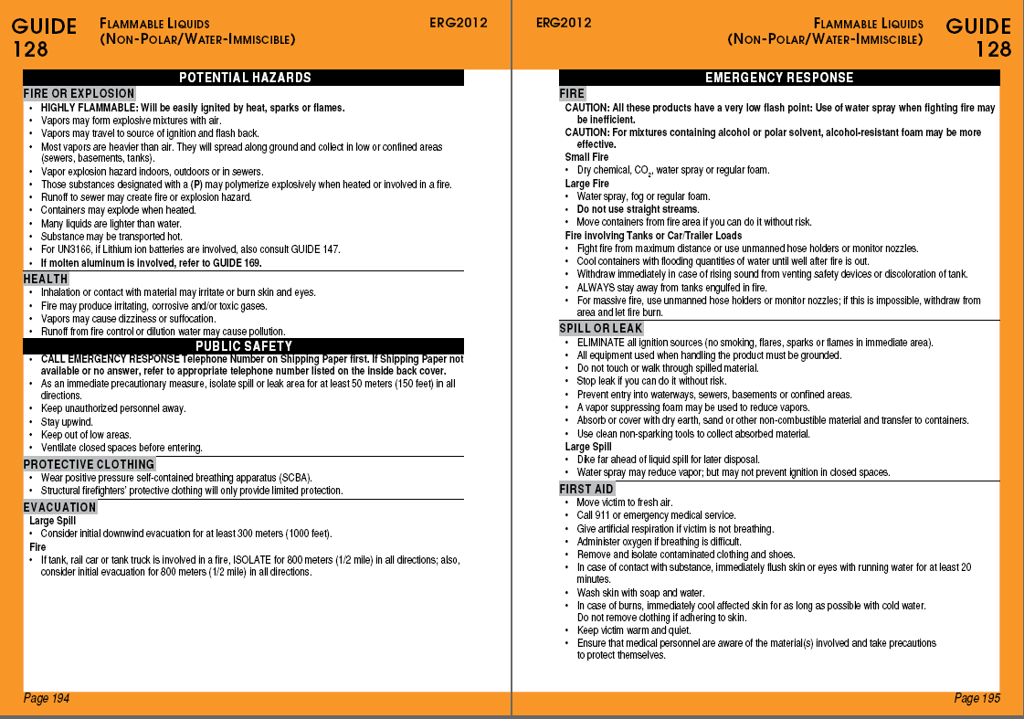 Emergency Response Guide (Example) Both Emergency Response Guide pages will  need to accompany the