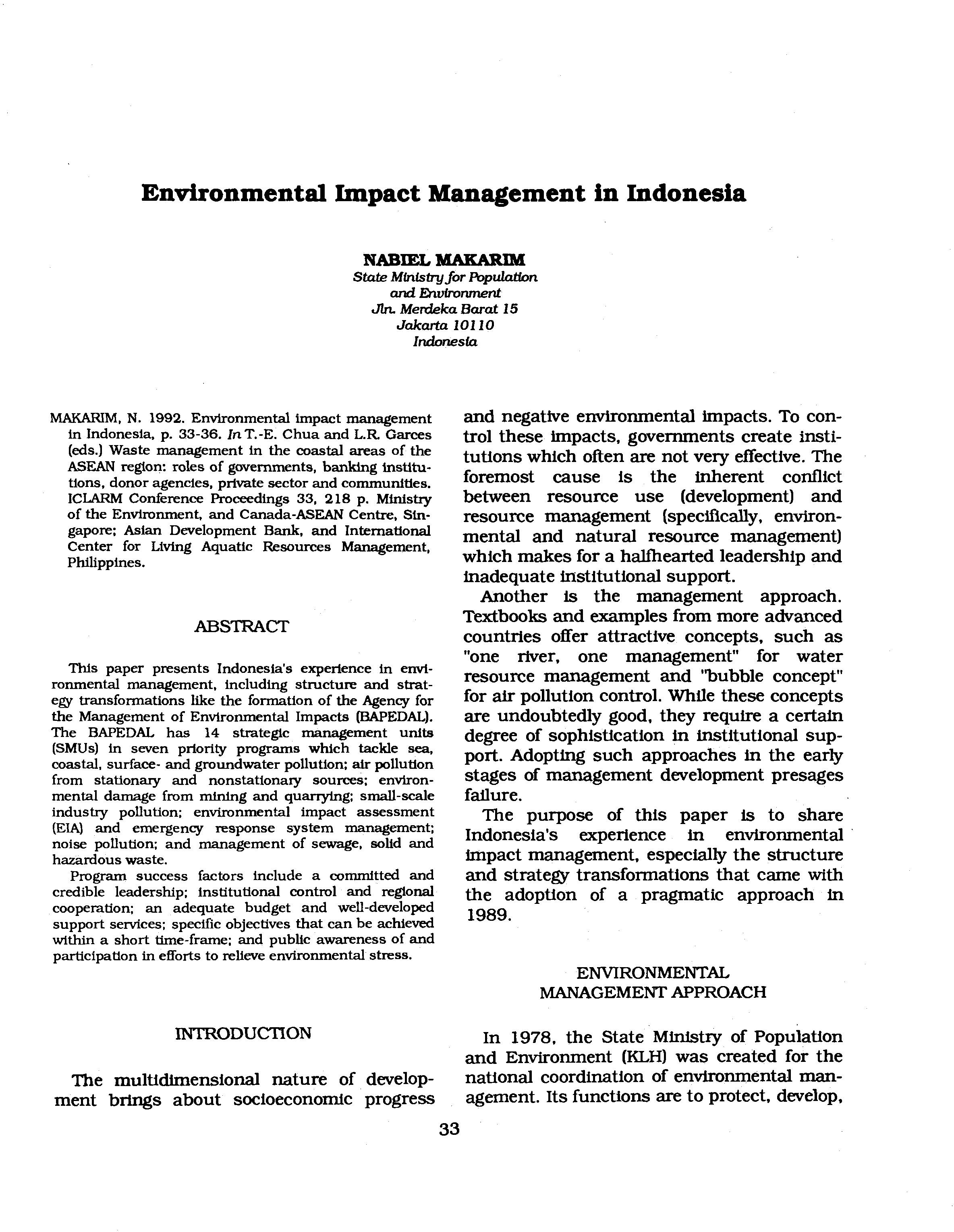 Waste Management In The Coastal Areas Of Asean Region Pdf Tendencies Caps Black Pop Hitam Environmental Impact Indonesia Nabiel Makarim State Mfnlstry For Population And Ehvironment Jln Merdeka Barat