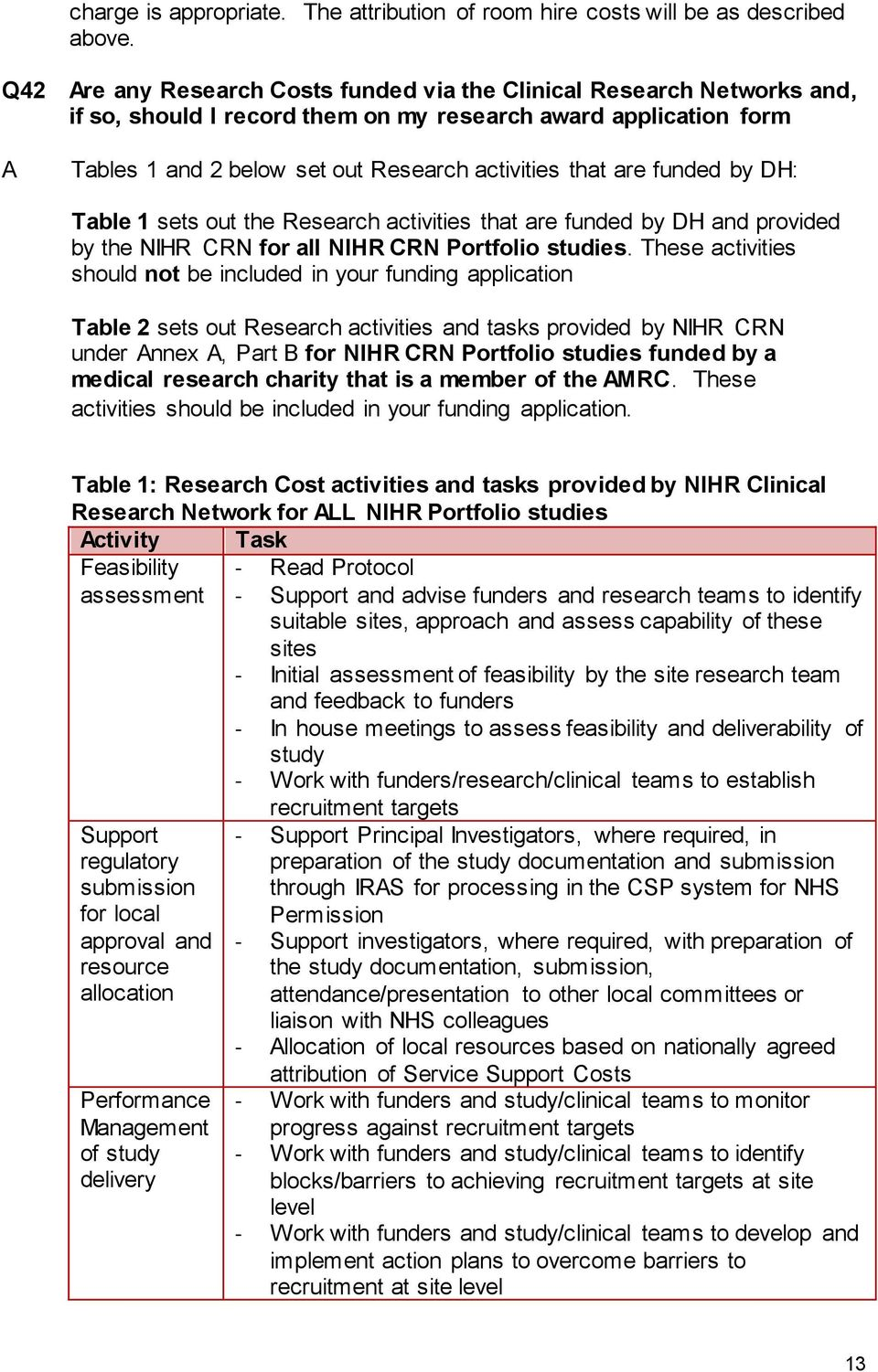 Table 1 sets out the Research activities that are funded by DH and provided by the NIHR CRN for all NIHR CRN Portfolio studies.