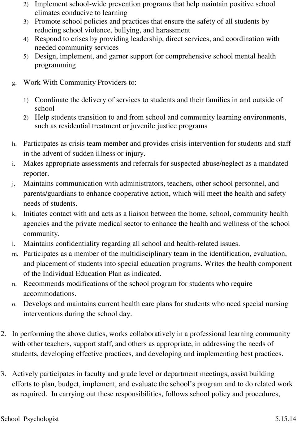 support for comprehensive school mental health programming g.