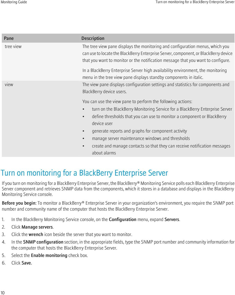 In a BlackBerry Enterprise Server high availability environment, the monitoring menu in the tree view pane displays standby components in italic.