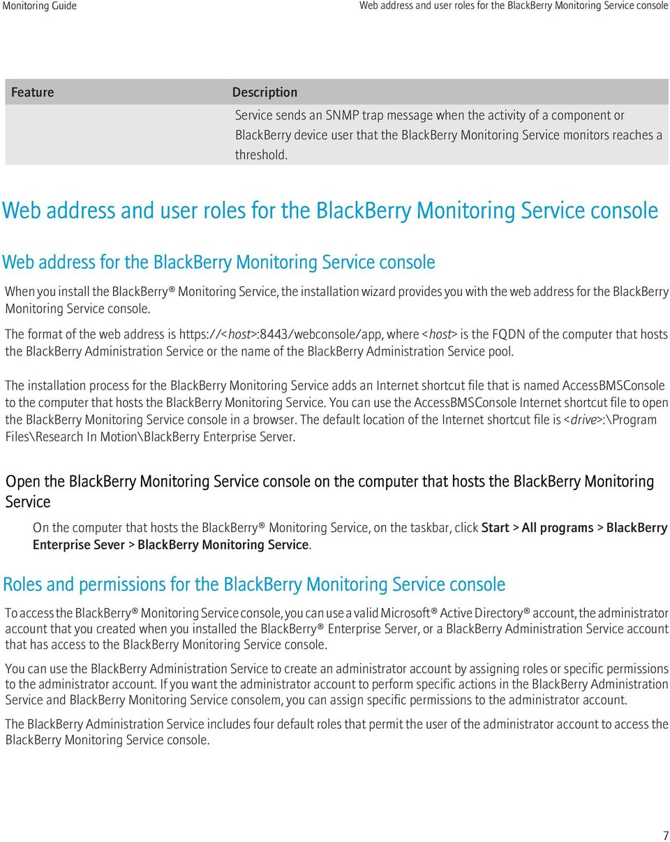 Web address and user roles for the BlackBerry Monitoring Service console Web address for the BlackBerry Monitoring Service console When you install the BlackBerry Monitoring Service, the installation