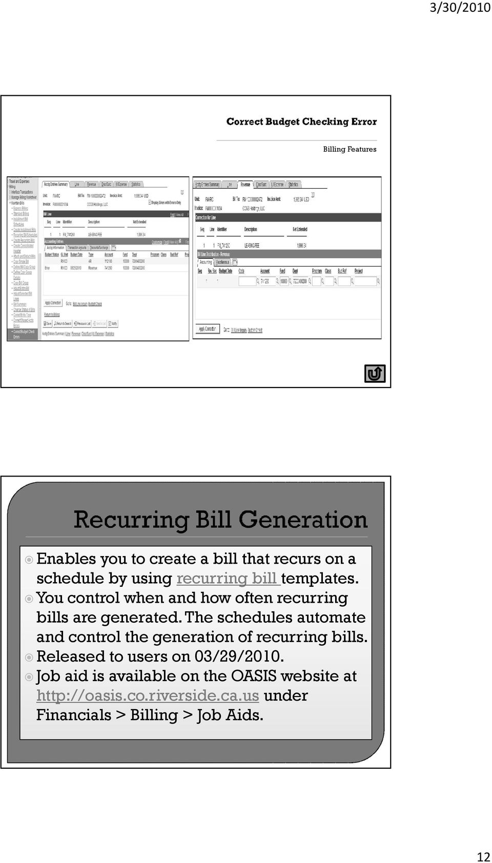 The schedules automate and control the generation of recurring bills.