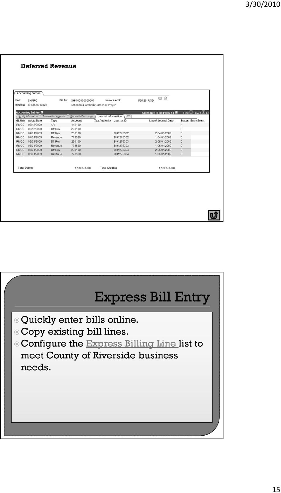 Configure the Express Billing Line