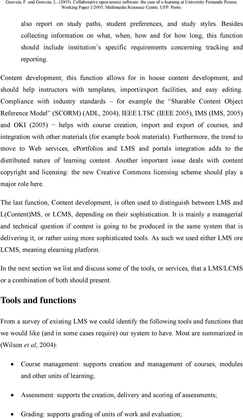 Collaborative Open-Source software: the case of e-learning