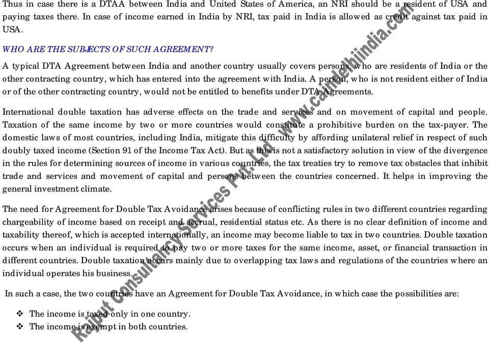 Double Taxation Avoidance Agreement Dtaa In India Pdf