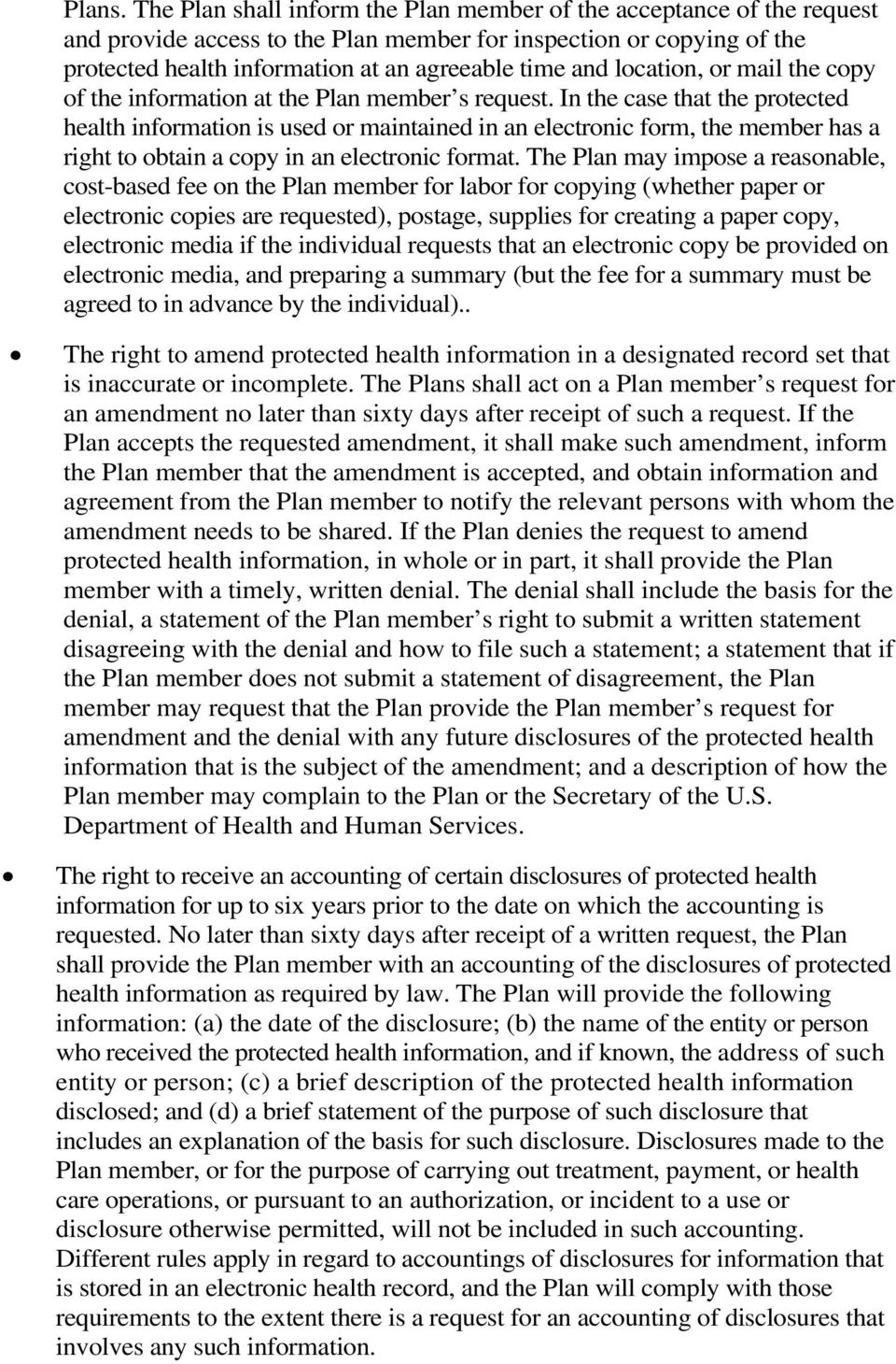 location, or mail the copy of the information at the Plan member s request.
