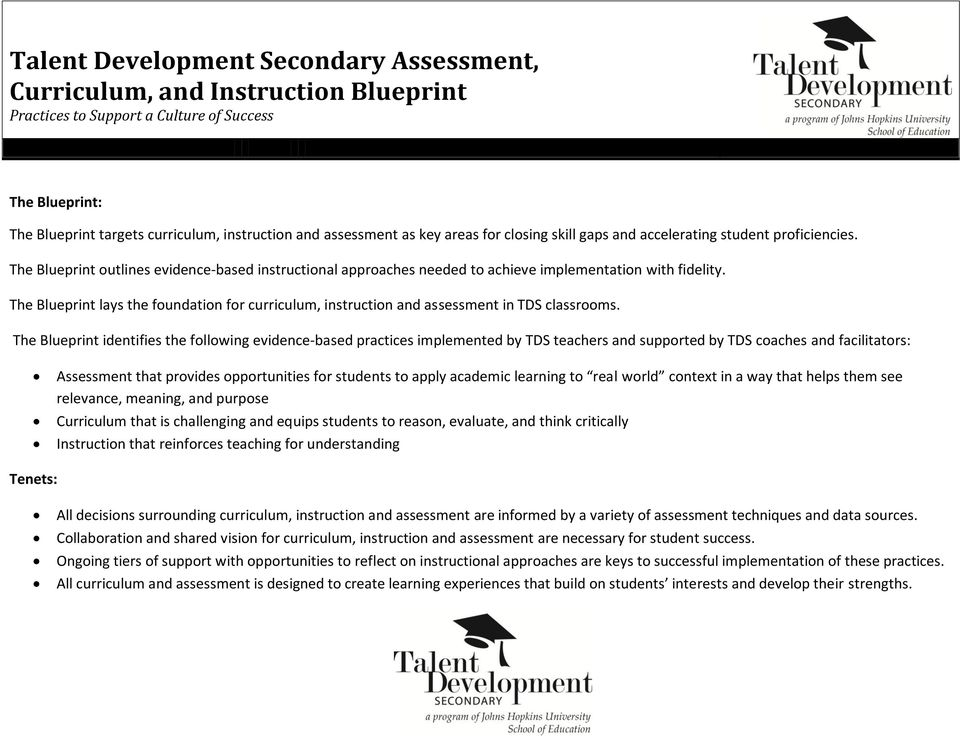 The Blueprint lays the foundation for curriculum, instruction and assessment in TDS classrooms.