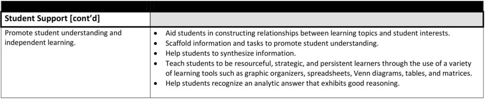Scaffold information and tasks to promote student understanding. Help students to synthesize information.