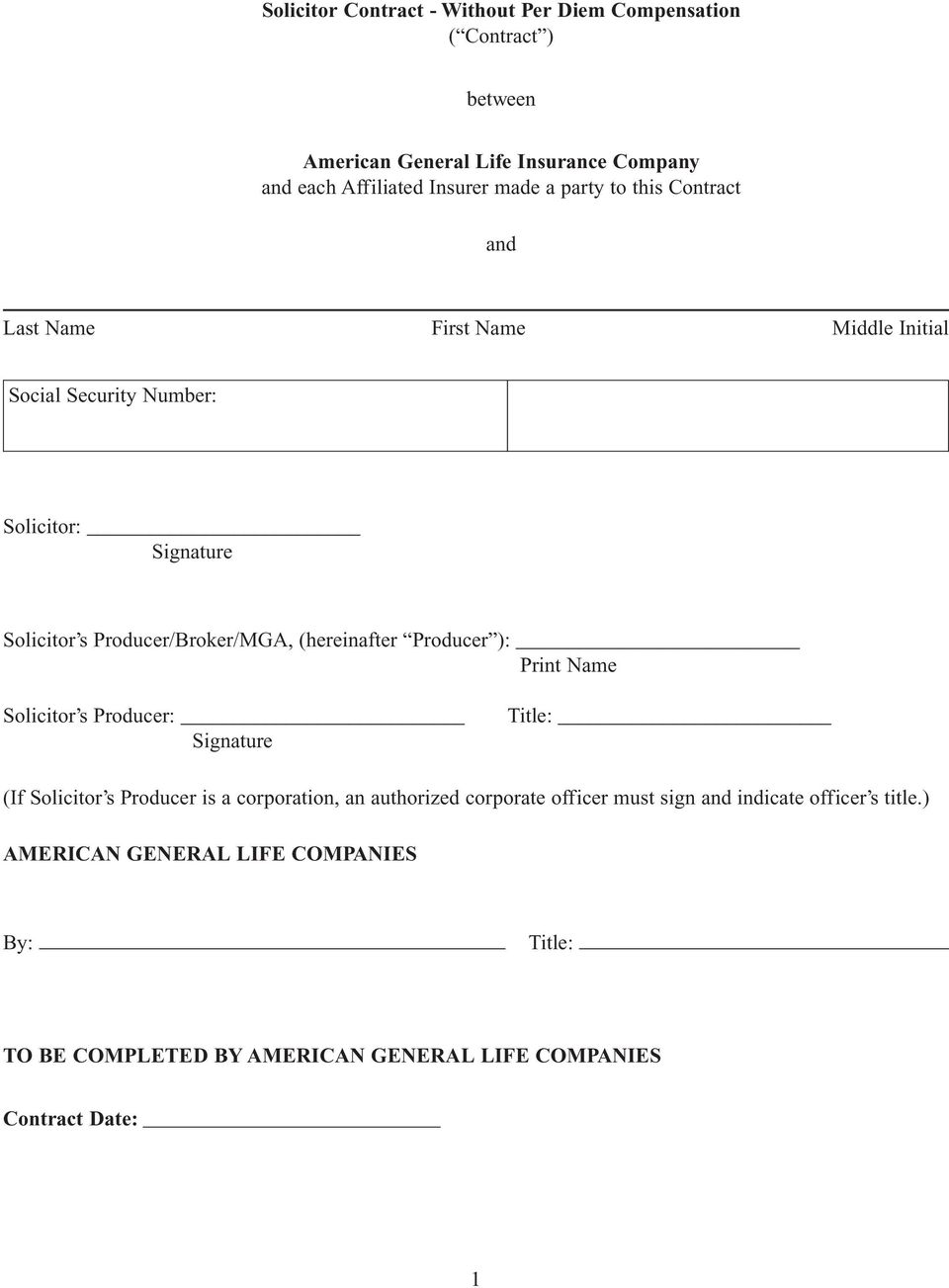 Agreement Solicitor Without Per Diem Compensation Pdf