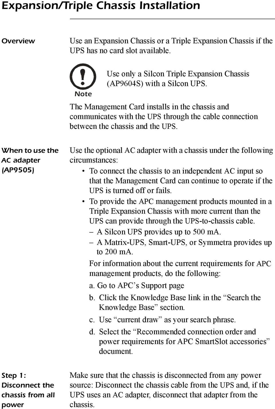 The Management Card installs in the chassis and communicates with the UPS through the cable connection between the chassis and the UPS.