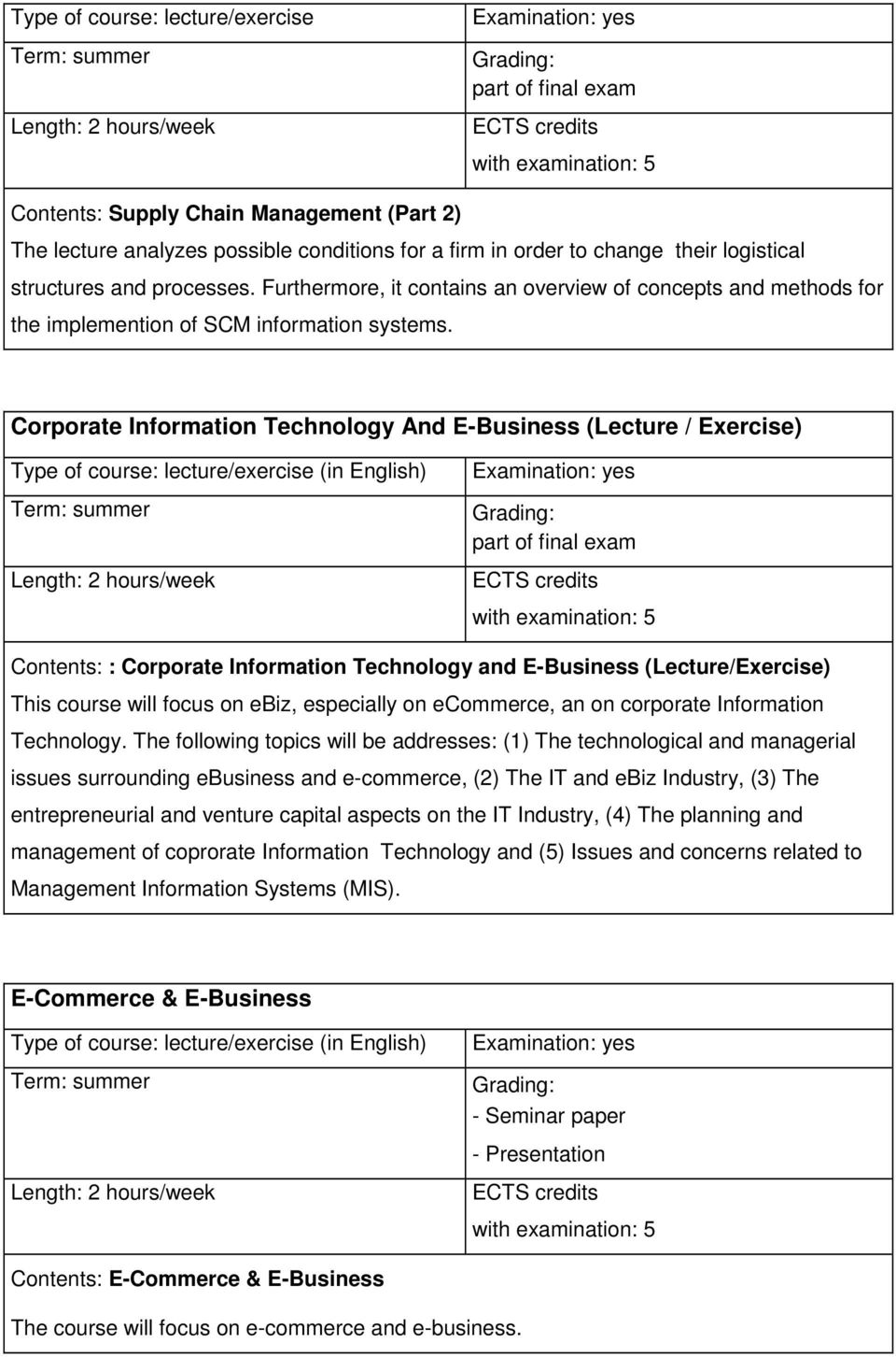 Corporate Information Technology And E-Business (Lecture / Exercise) /exercise (in English) part of final exam Contents: : Corporate Information Technology and E-Business (Lecture/Exercise) This
