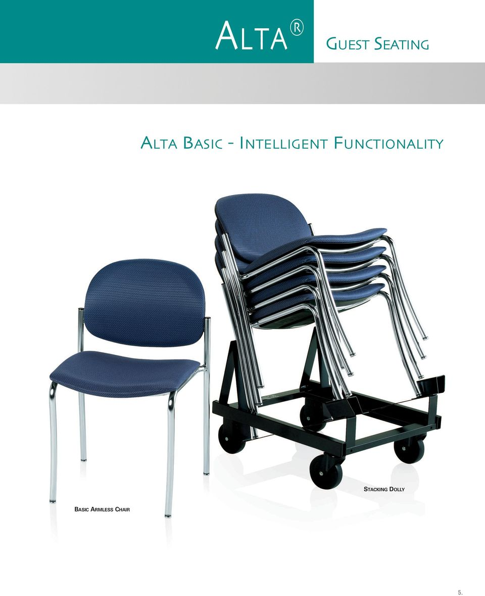 Sled Base Arm Chair 4 Leg Armless Chair With Stacking Dolly