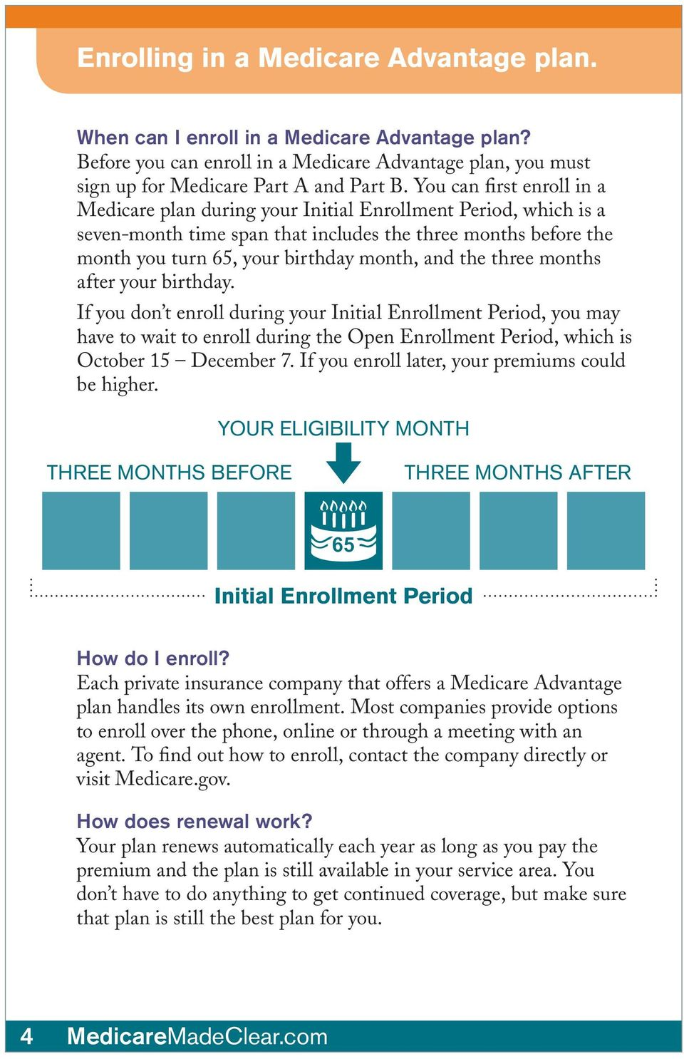 the three months after your birthday. If you don t enroll during your Initial Enrollment Period, you may have to wait to enroll during the Open Enrollment Period, which is October 15 December 7.