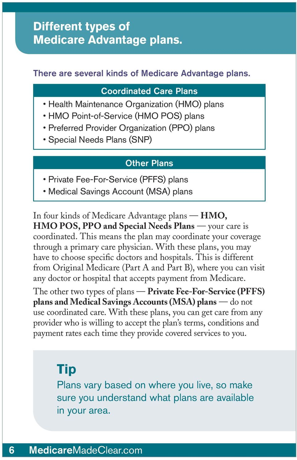 Fee-For-Service (PFFS) plans Medical Savings Account (MSA) plans In four kinds of Medicare Advantage plans HMO, HMO POS, PPO and Special Needs Plans your care is coordinated.