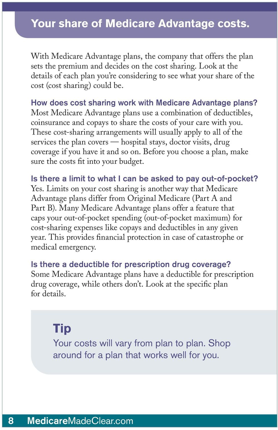 Most Medicare Advantage plans use a combination of deductibles, coinsurance and copays to share the costs of your care with you.