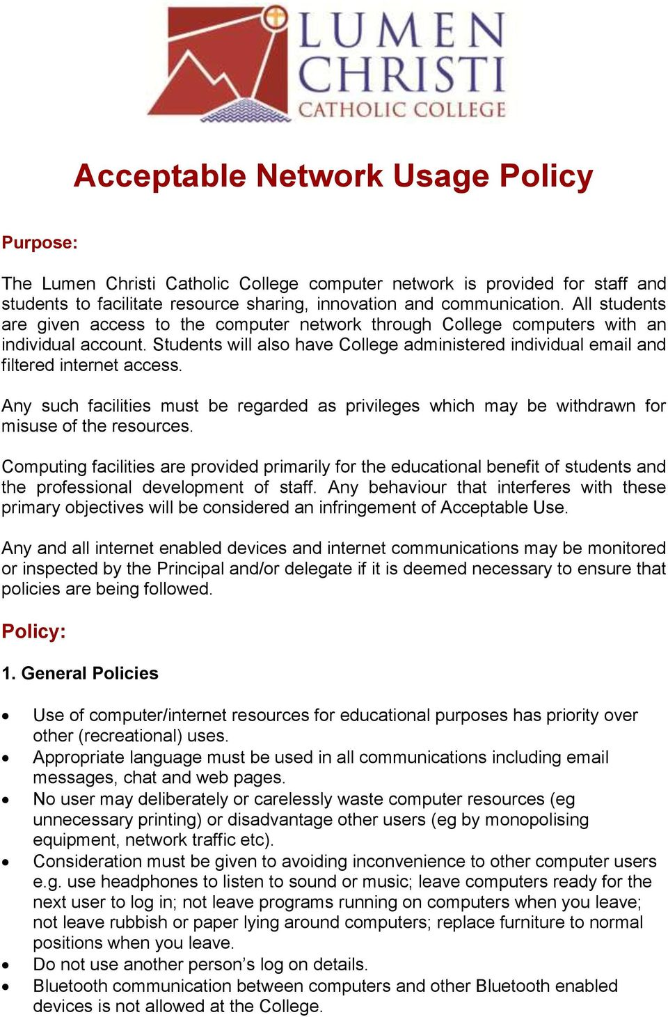 Acceptable Network Usage Policy Pdf