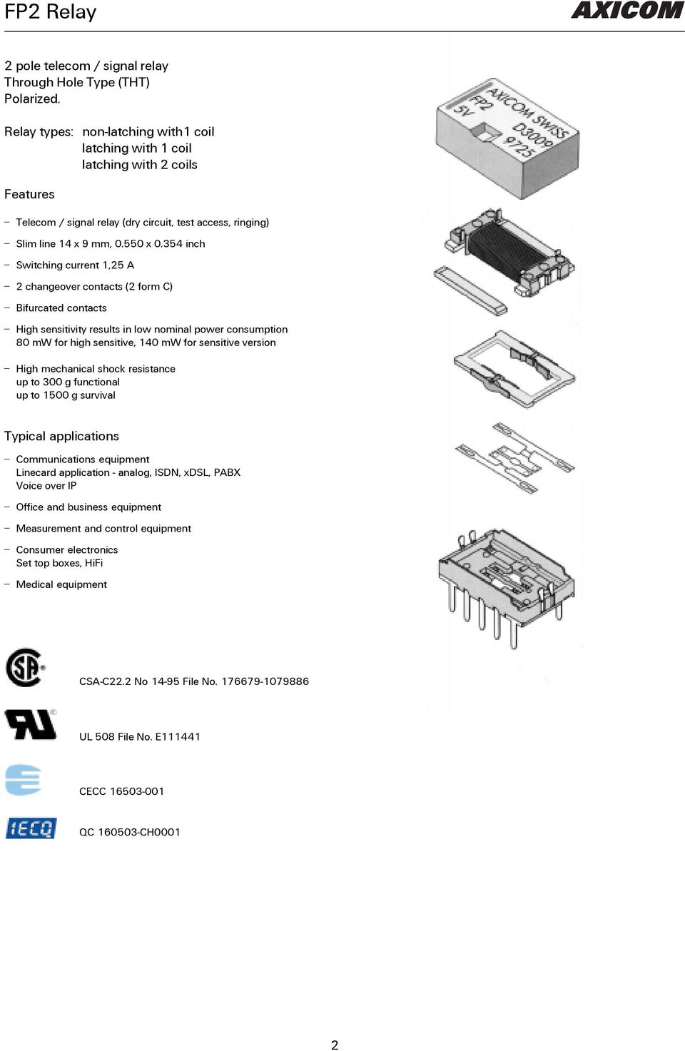 Fp2 Relay The Best Relaytion Pdf Switching Current Of 354 Inch 125 A 2 Changeover Contacts Form C