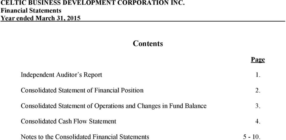 Consolidated Statement of Operations and Changes in Fund Balance 3.