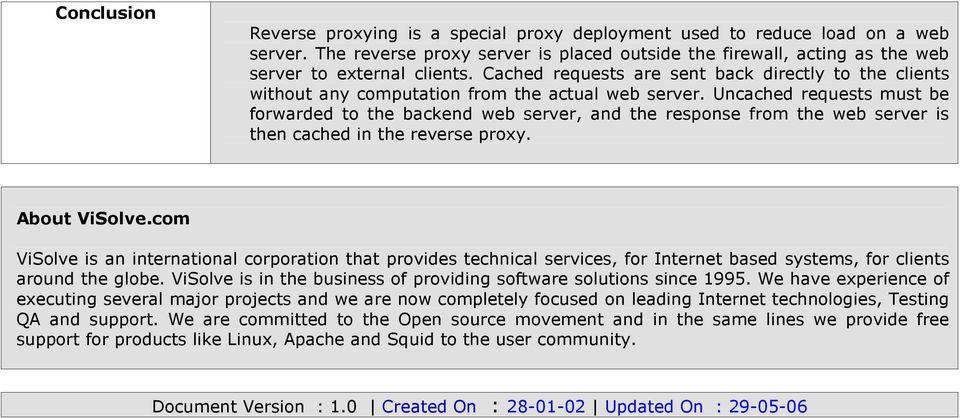 Implementing Reverse Proxy Using Squid  Prepared By Visolve Squid