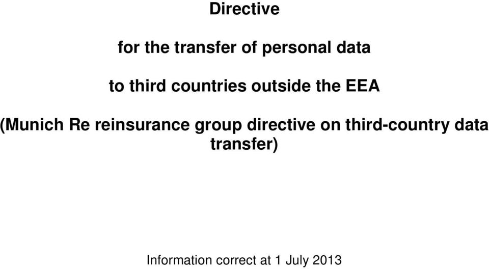 reinsurance group directive on third-country
