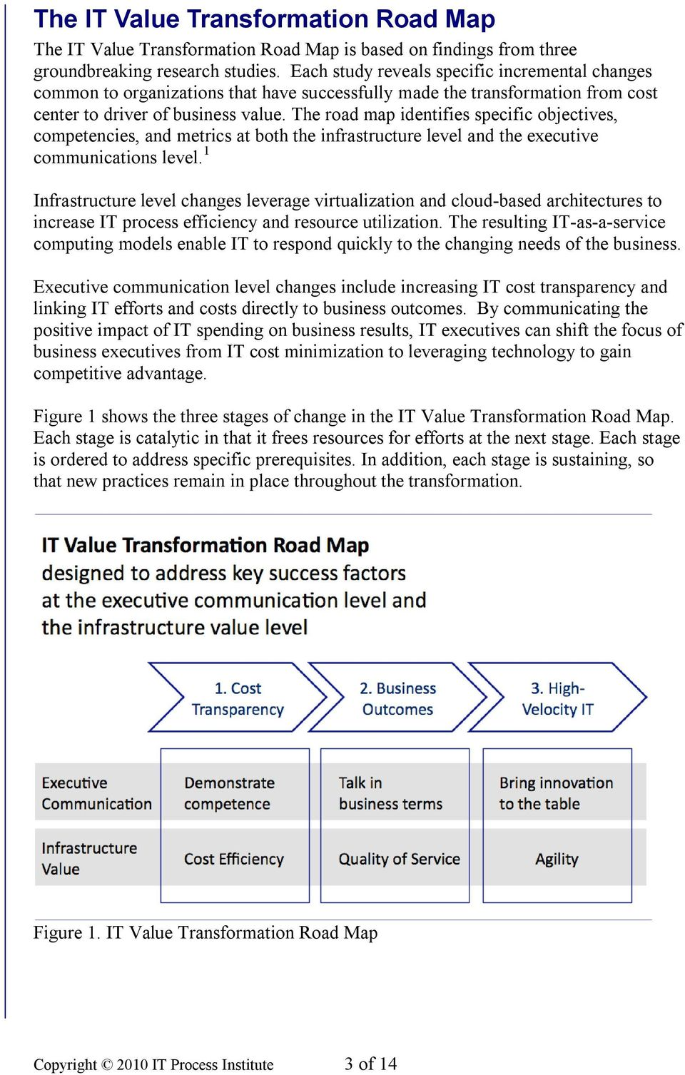 The road map identifies specific objectives, competencies, and metrics at both the infrastructure level and the eecutive communications level.