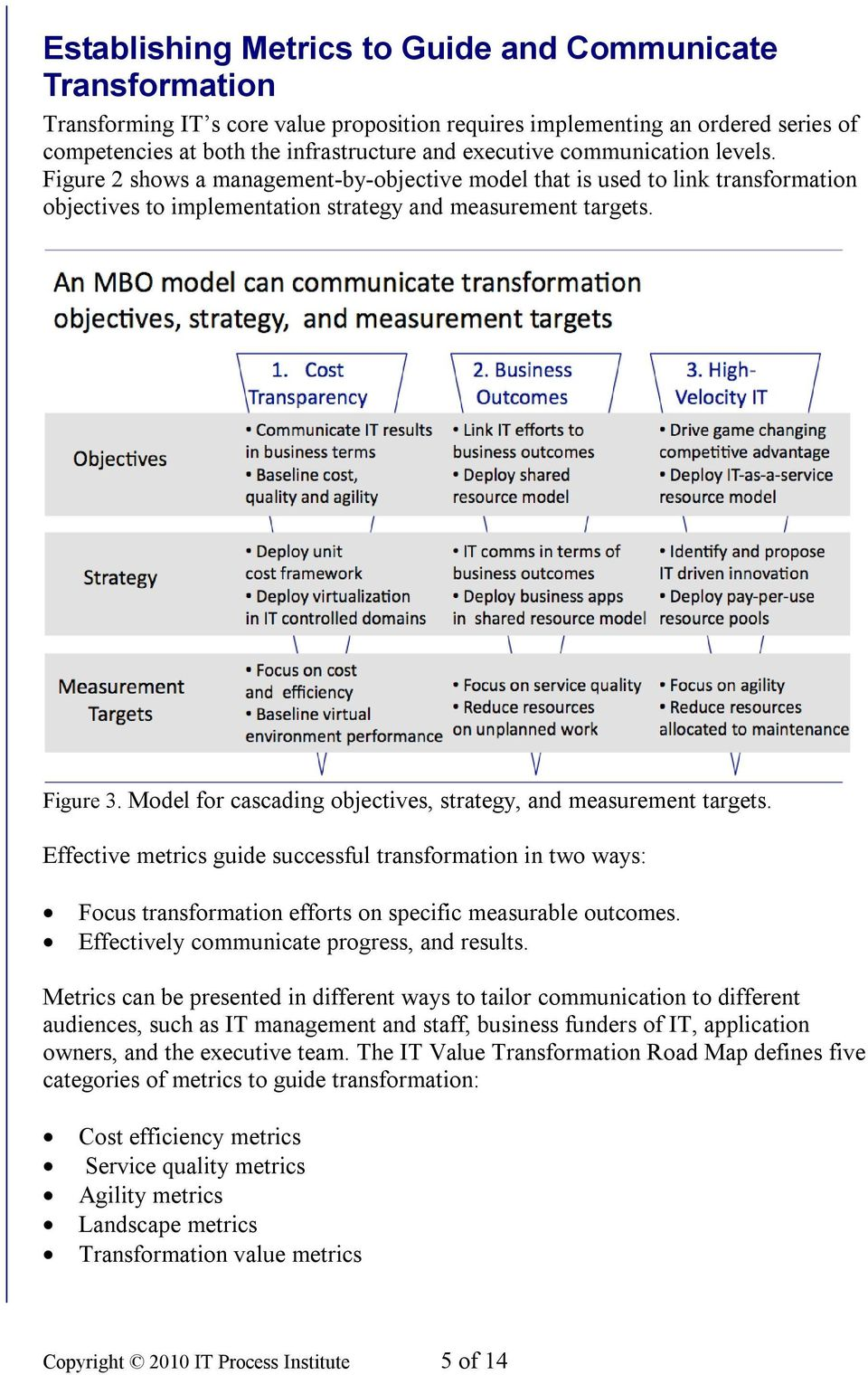 Model for cascading objectives, strategy, and measurement targets. Effective metrics guide successful transformation in two ways: Focus transformation efforts on specific measurable outcomes.