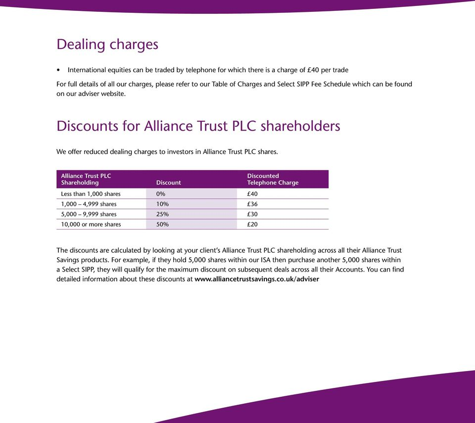 Discounts for Alliance Trust PLC shareholders We offer reduced dealing charges to investors in Alliance Trust PLC shares.