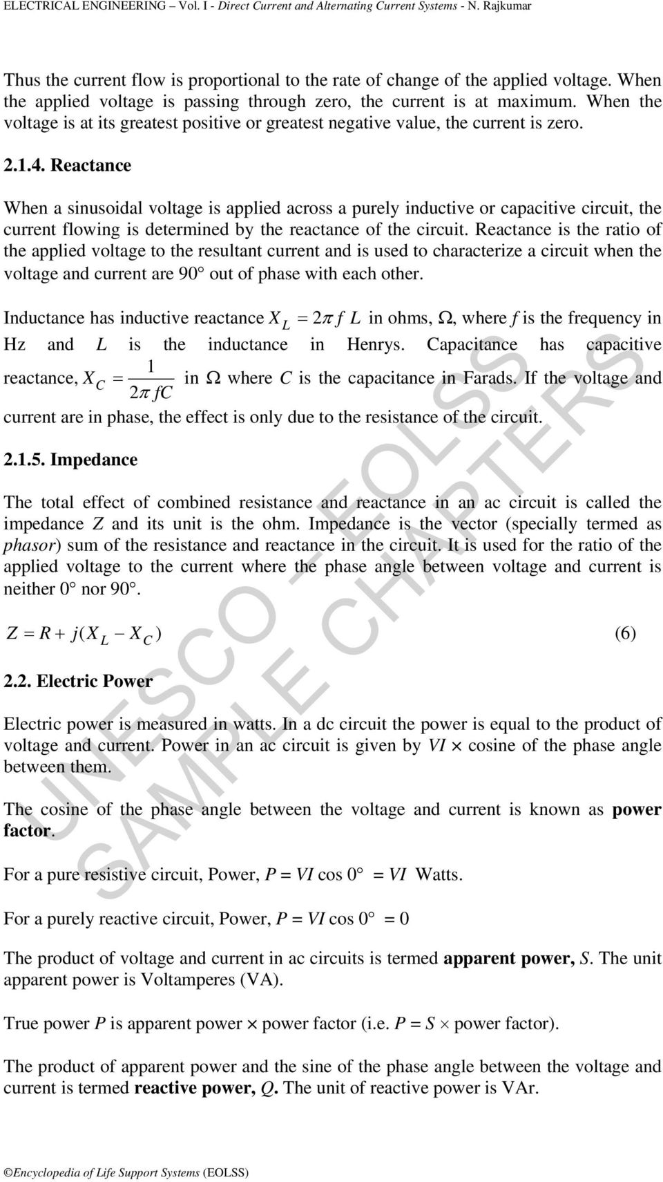 Electrical Engineering Vol I Direct Current And Alternating The Capacitive Reactance Circuit Impedance Is Calculated As When A Sinusoidal Voltage Applied Across Purely Inductive Or