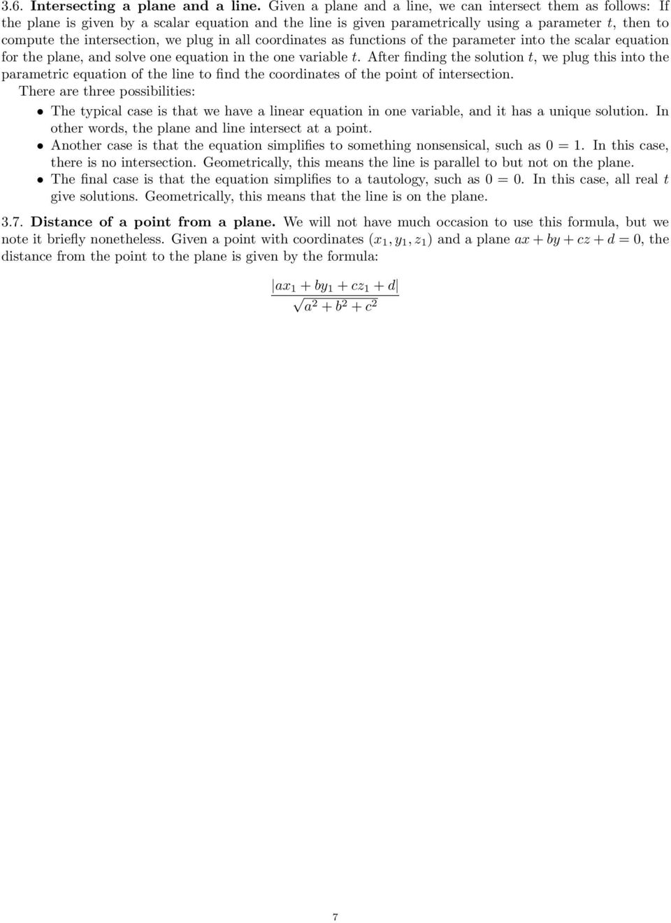 functions of the prmeter into the sclr eqution for the plne, nd solve one eqution in the one vrile t.