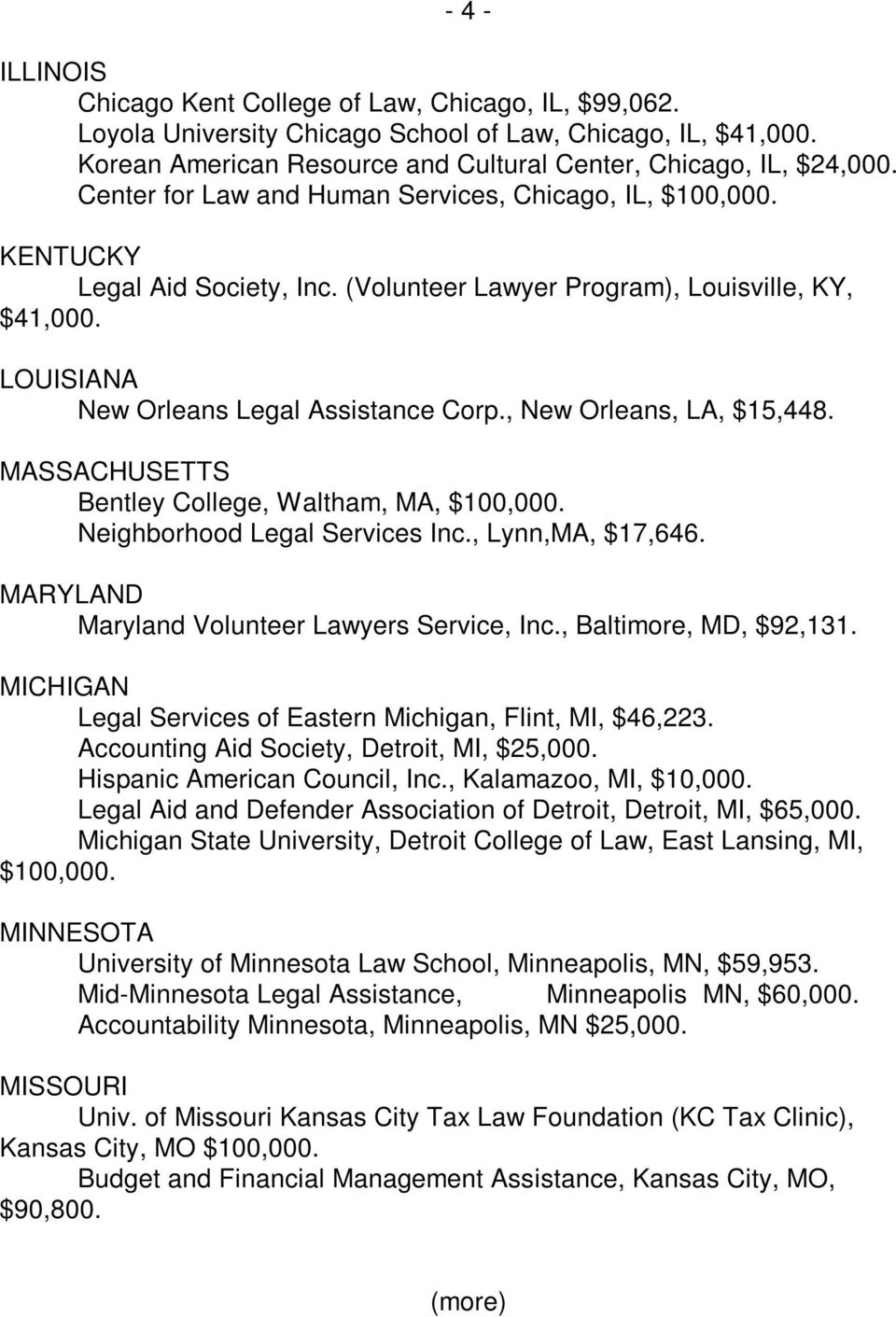 , New Orleans, LA, $15,448. MASSACHUSETTS Bentley College, Waltham, MA, $100,000. Neighborhood Legal Services Inc., Lynn,MA, $17,646. MARYLAND Maryland Volunteer Lawyers Service, Inc.
