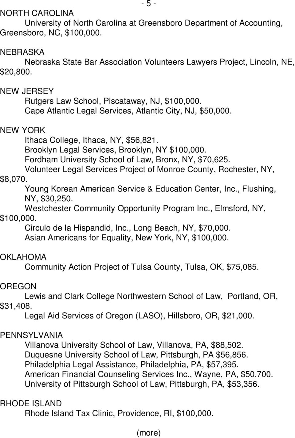 Cape Atlantic Legal Services, Atlantic City, NJ, $50,000. NEW YORK Ithaca College, Ithaca, NY, $56,821. Brooklyn Legal Services, Brooklyn, NY $100,000.