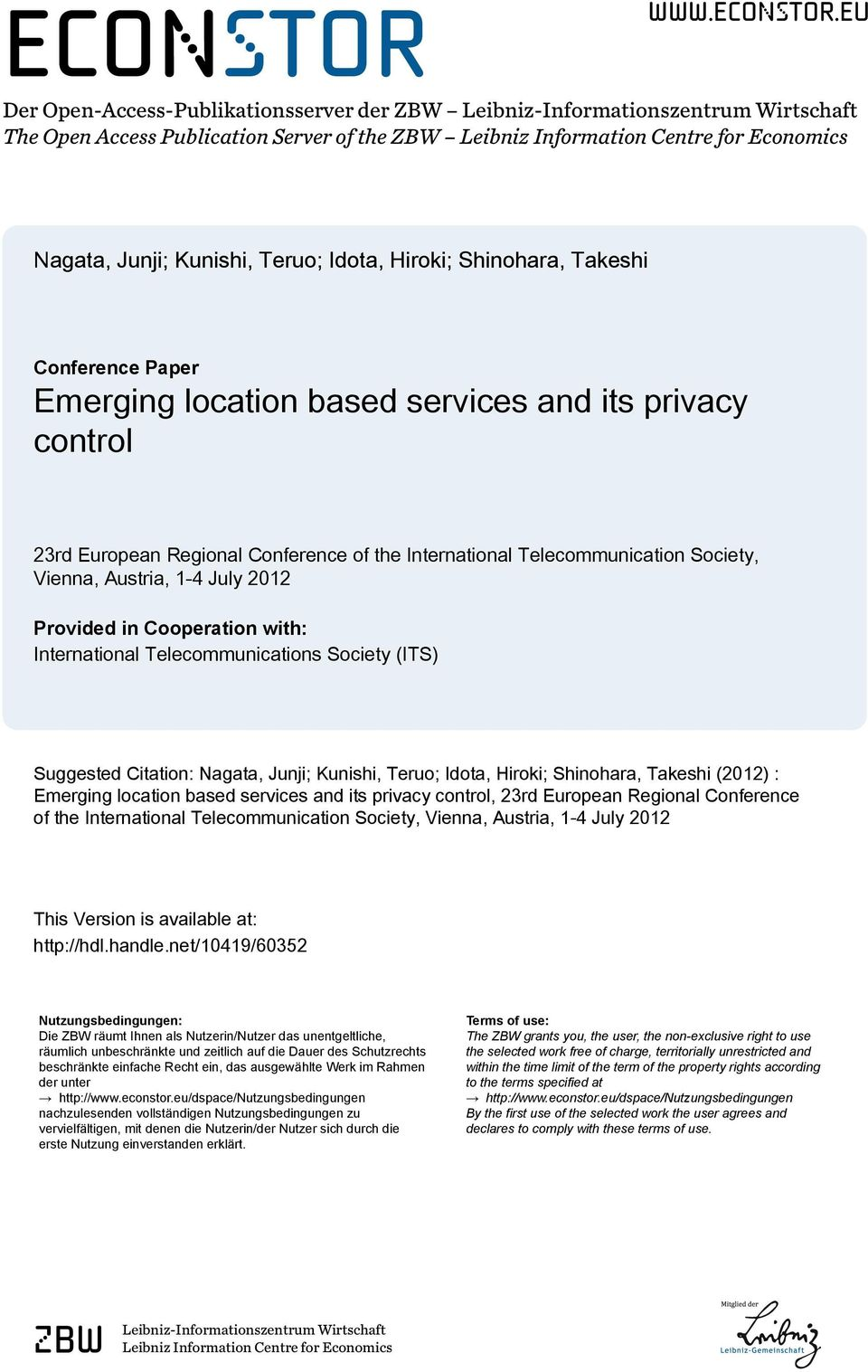 eu Der Open-Access-Publikationsserver der ZBW Leibniz-Informationszentrum Wirtschaft The Open Access Publication Server of the ZBW Leibniz Information Centre for Economics Nagata, Junji; Kunishi,