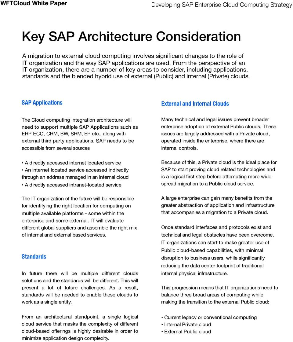 clouds. SAP Applications External and Internal Clouds The Cloud computing integration architecture will need to support multiple SAP Applications such as ERP ECC, CRM, BW, SRM, EP etc.
