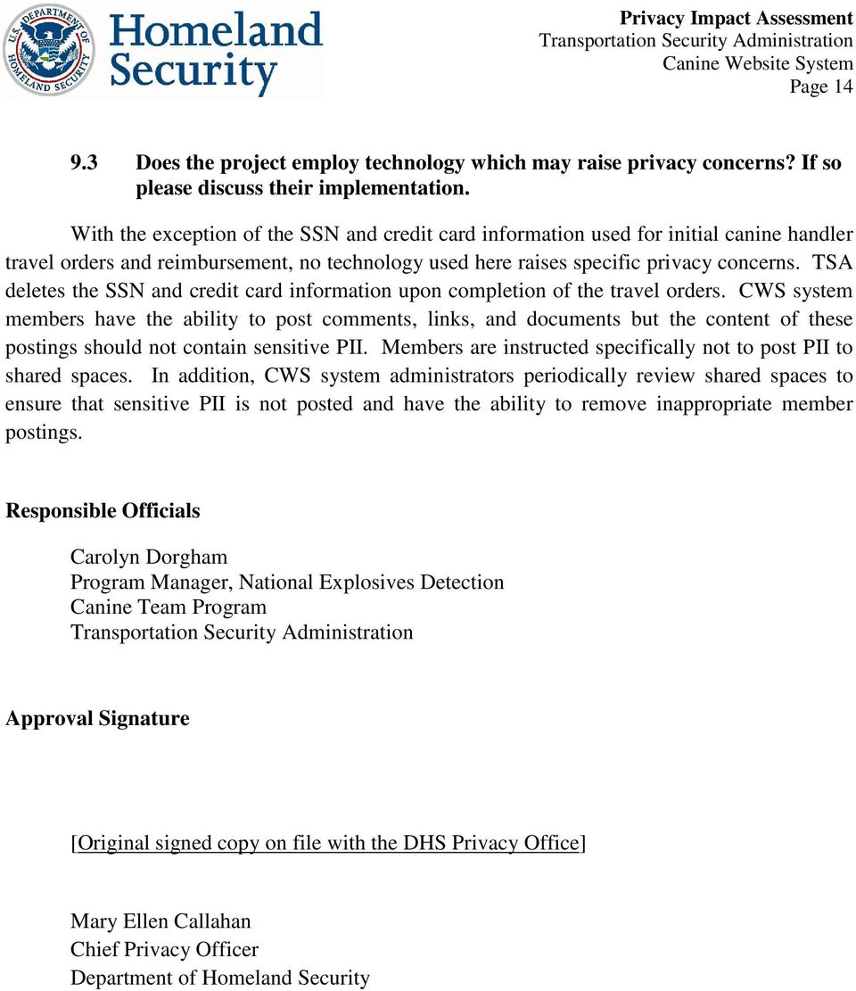 TSA deletes the SSN and credit card information upon completion of the travel orders.