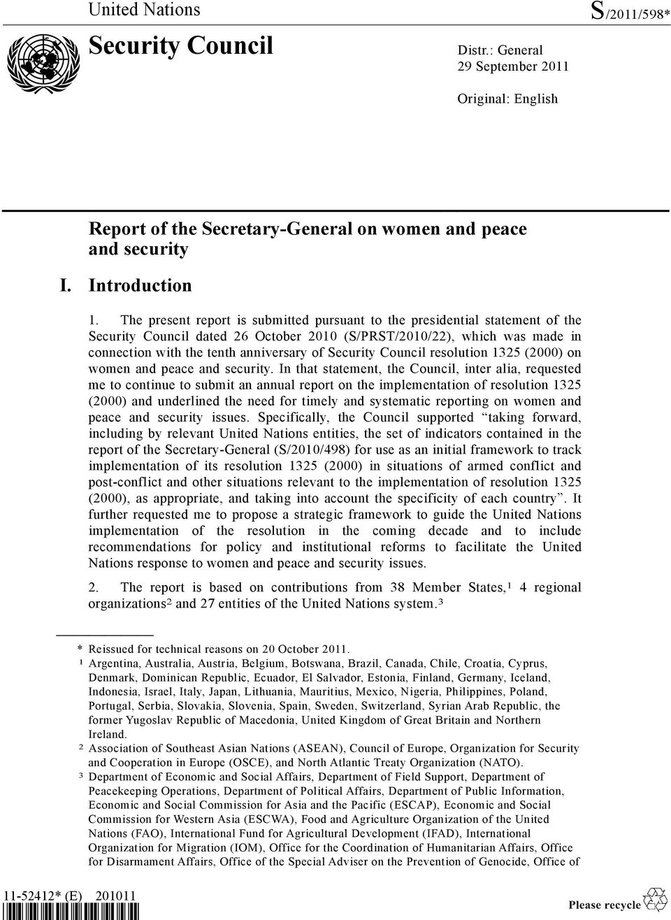 Security Council resolution 1325 (2000) on women and peace and security.