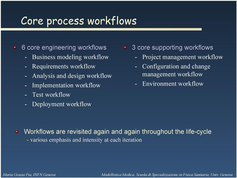 workflows - Project management workflow - Configuration and change management workflow - Environment workflow