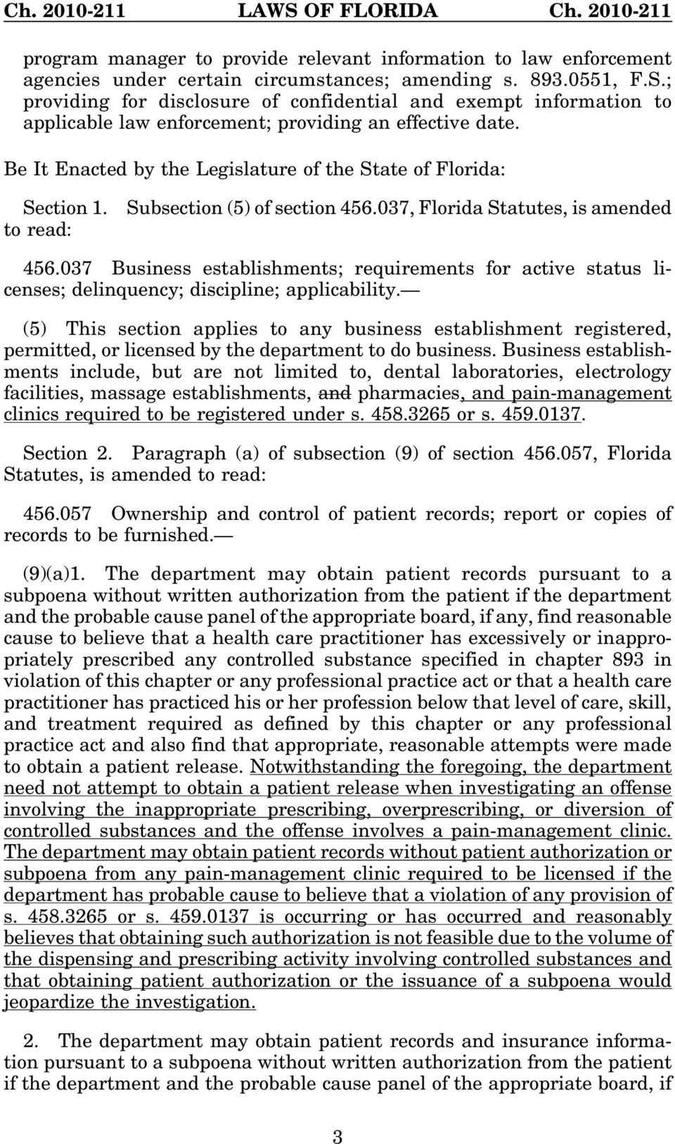 to read: Subsection (5) of section 456.037, Florida Statutes, is amended 456.037 Business establishments; requirements for active status licenses; delinquency; discipline; applicability.
