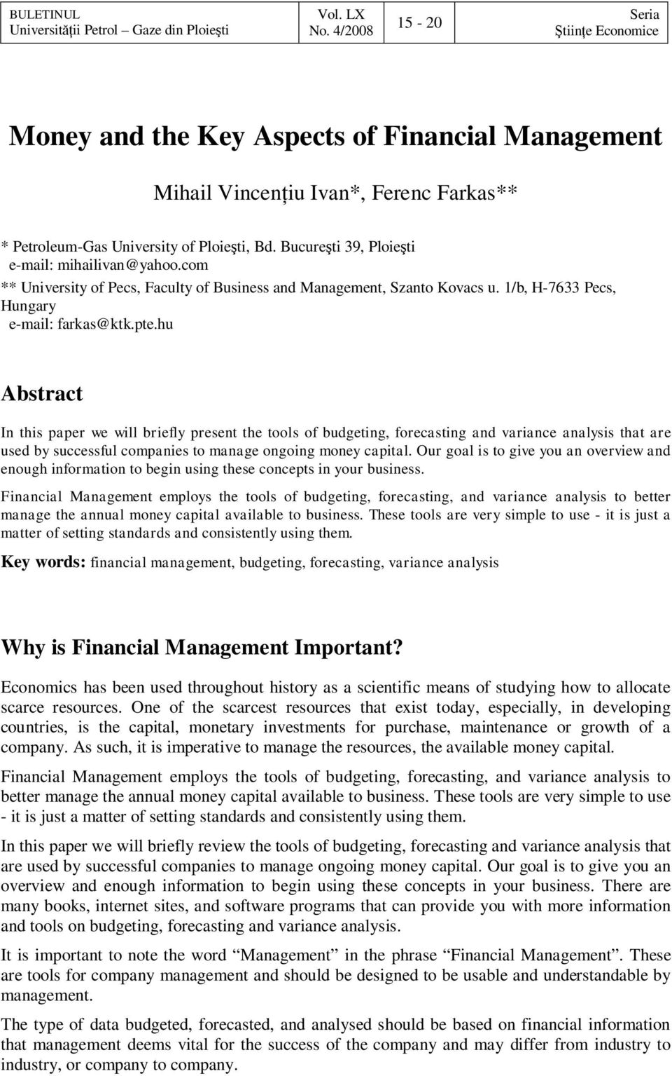 Money and the Key Aspects of Financial Management - PDF