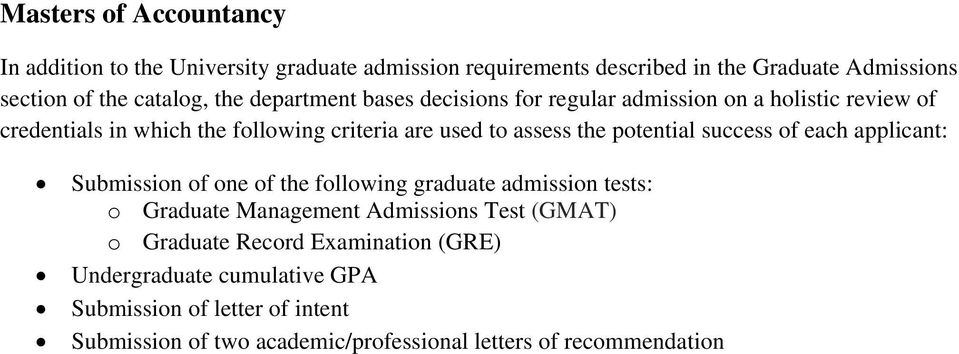 Undergraduate cumulative GPA Submission of letter of
