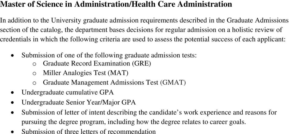 GPA Submission of letter of intent describing the candidate s work experience and reasons for pursuing