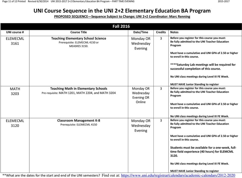 No UNI class meetings during Level III FE Week. MATH 3203 Teaching Math in Elementary Schools Pre-requisite: MATH 1201, MATH 2204, and MATH 3204 Must have a cumulative and UNI GPA of 2.